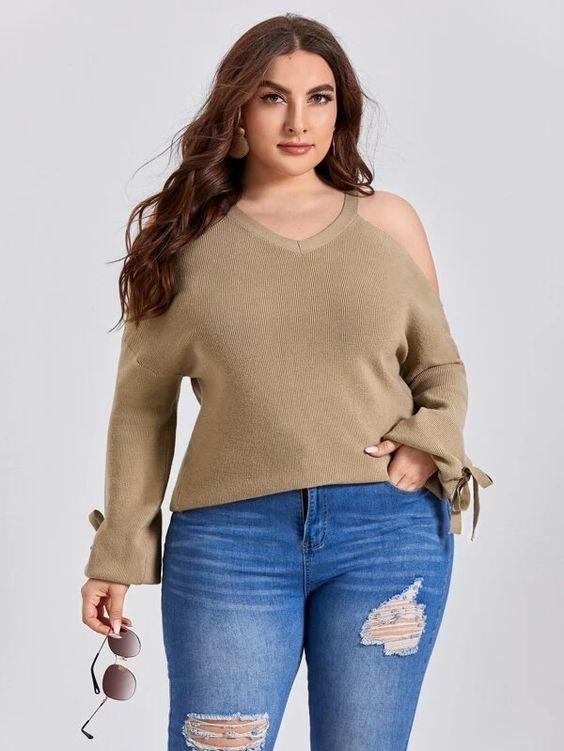 Curvaceous Cold Shoulder Sweater SHN -michelle canbuldu
