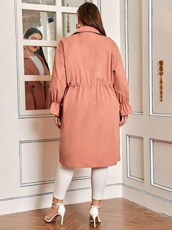 Curvaceous Double Breasted Drawstring Coat SHN -michelle canbuldu