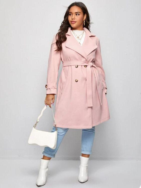 Curvaceous Double Breasted Pink Belted Trench SHN-michellecanbuldu