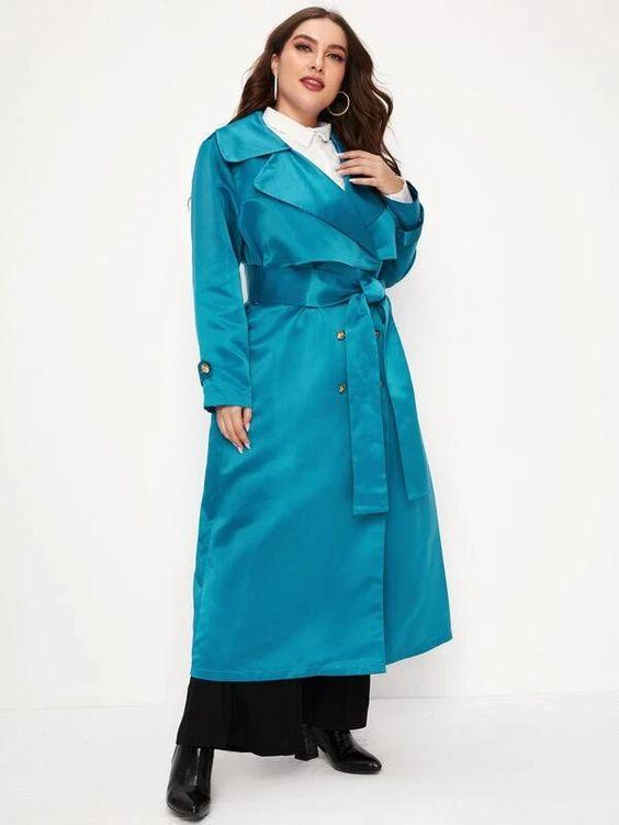 Curvaceous Double Breasted Trench Coat SHN -michelle canbuldu