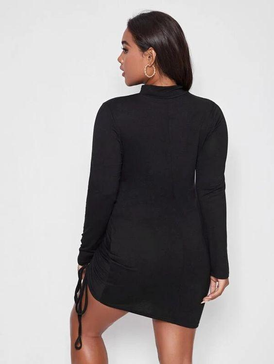 Curvaceous Mock Neck Drawstring Dress SHN-michellecanbuldu