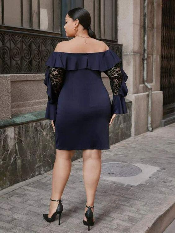Curvaceous Off Shoulder Fitted Ruffle & Lace Dress SHN -michelle canbuldu
