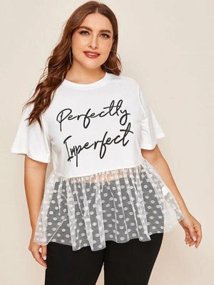 Curvaceous Perfectly Imperfect Slogan T Shirt SHN