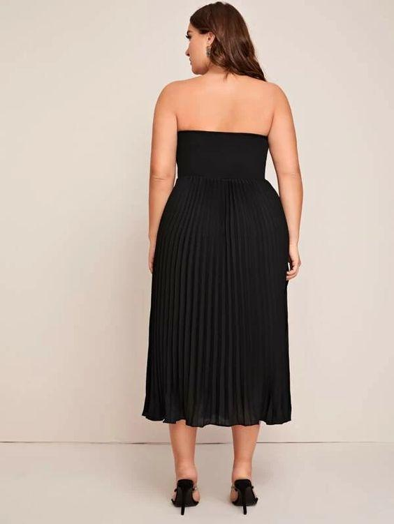 Curvaceous Pleated Strapless Flared Dress SHN-michellecanbuldu