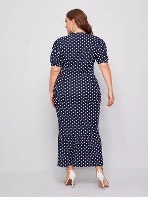 Curvaceous Polka Dot Fitted Dress SHN-michellecanbuldu