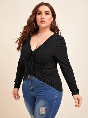 Curvaceous Ruched V Neck Long Sleeve T Shirt SHN - Versacerocks