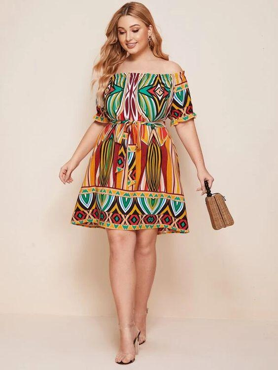 Curvaceous Tribal Print Frill Trim Belted Dress SHN - Versacerocks