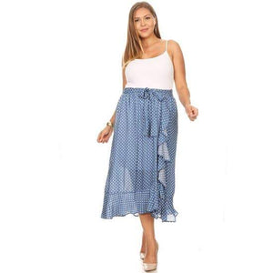 Curvaceous Woven Wrap Maxi Ruffle Skirt Revenge Fashion Boutique