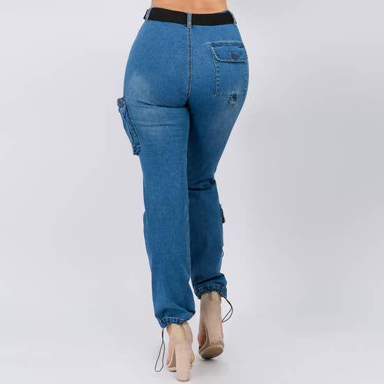Curvy & Curvaceous High Waist Denim Cargo Pant Faire- Episode