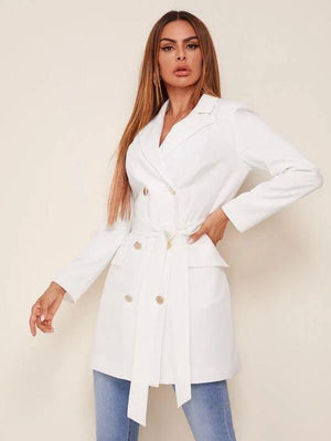 Double Breasted Self Belted Trench Blazer SHN-michellecanbuldu