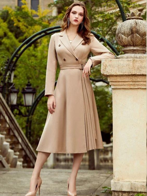 Double Button Belted Pleated Dress SHN-michellecanbuldu