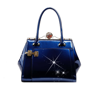 Euro Moda Luxe Leather Handbag Women - Bags - Shoulder Bags Brangio Blue