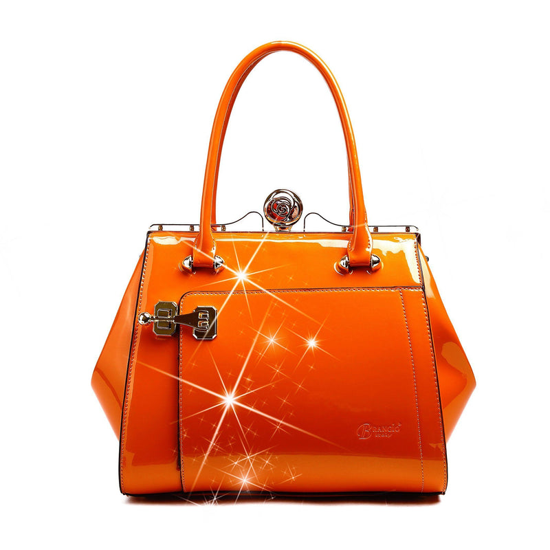 Euro Moda Luxe Leather Handbag Women - Bags - Shoulder Bags Brangio Orange