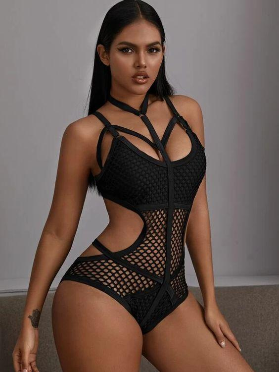 Fishnet Halter One Piece Swimsuit Revenge Fashion Boutique