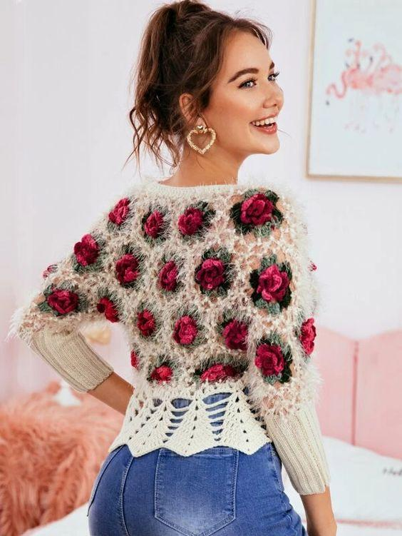 Floral Applique Fuzzy Peplum Sweater Revenge Fashion Boutique