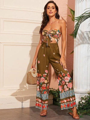 Floral Print Tie Front Drawstring Jumpsuit Revenge Fashion Boutique