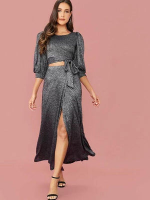 Glitter Crop Top & Wrap Skirt Set Revenge Fashion Boutique