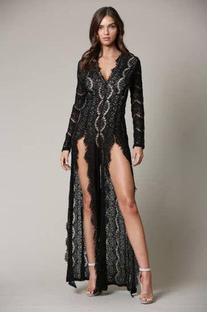 High Slit Lace Jumpsuit Faire-Rose Paulino