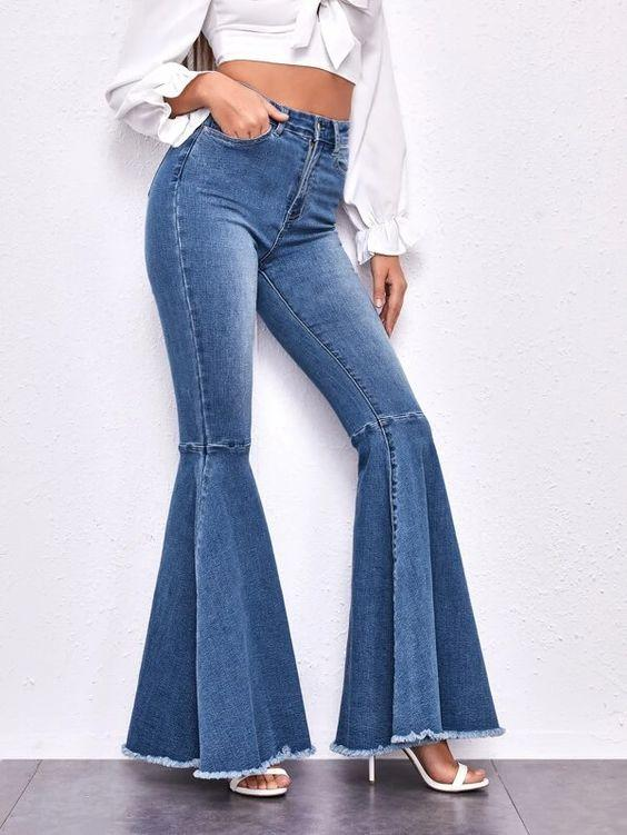 High Waist Raw Hem Flared Jeans SHN -michelle canbuldu