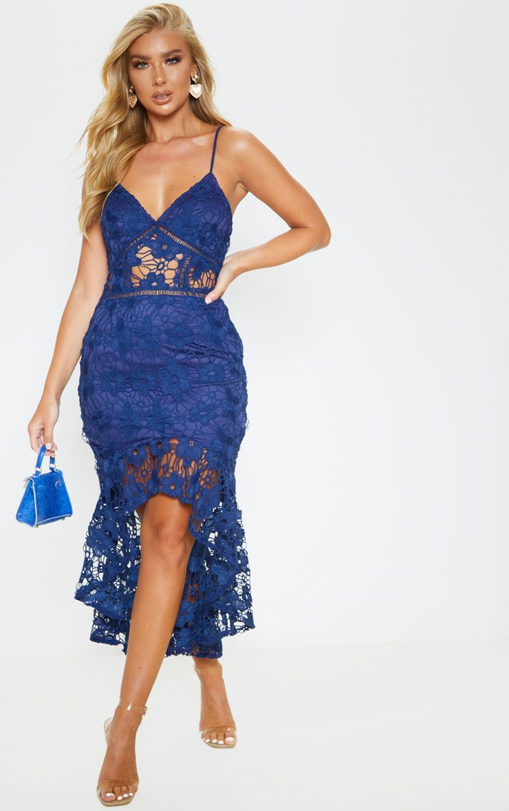 Lace Strappy Frill Hem Midi Dress Revenge Fashion Boutique