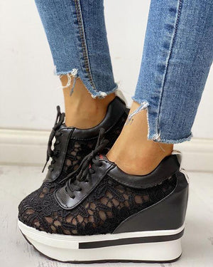Lace Wedge Sneakers Revenge Fashion Boutique