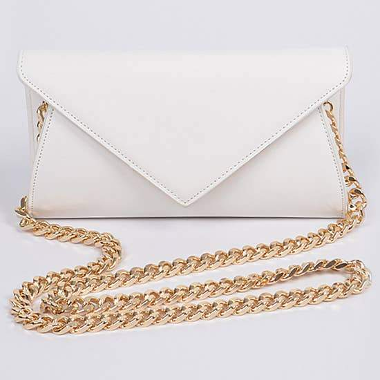 Leather Envelope Chain Strap Clutch Faire- H&D Accessories