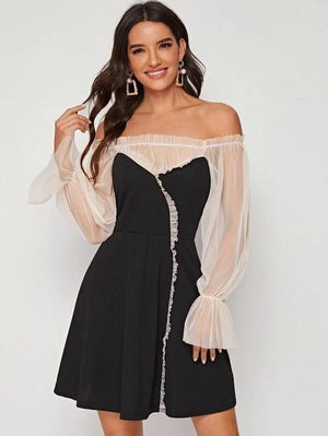 Mesh Bishop Sleeve A-Line Dress Revenge Fashion Boutique