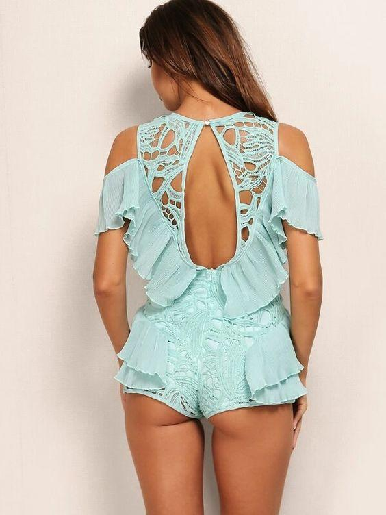 Open Back Ruffle Guipure Lace Overlay Romper SHN