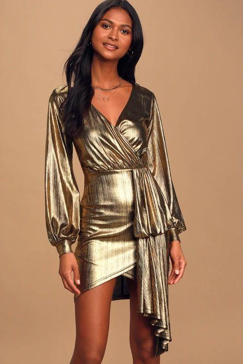 Outshining Moment Gold Metallic Mini Dress Revenge Fashion Boutique