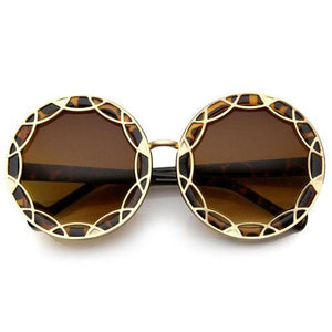Oversize Round Flat Etched Sunglasses Revenge Fashion Boutique