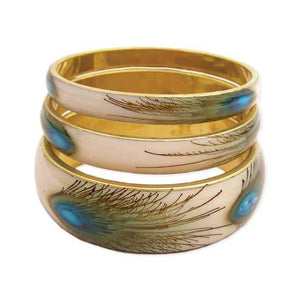 Peacock Feather Print Bangle Bracelets - Set of 3 Faire - ZAD