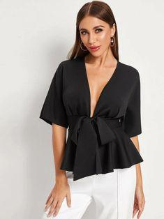 Plunging Tie Front Peplum Blouse Revenge Fashion Boutique