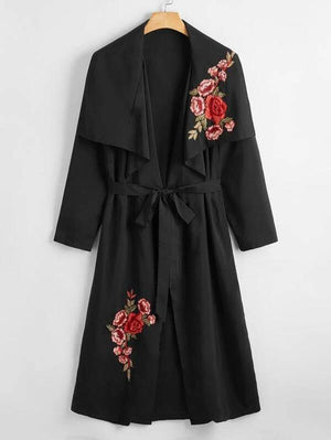 Plus Applique Long Trench Coat SHN -michelle canbuldu