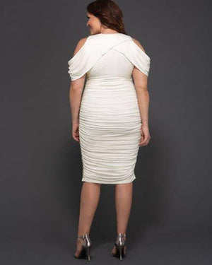 Plus Curves Ruched Cold Shoulder Midi Dress SHN