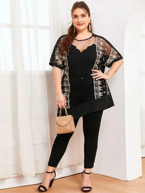 Plus Embroidered Mesh Hem Top SHN