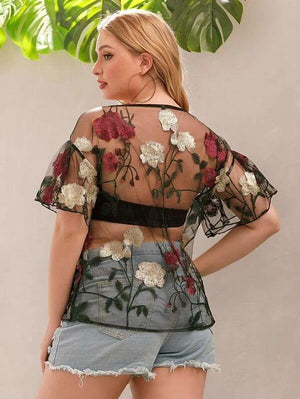 Plus Floral Embroidered Mesh Top SHN