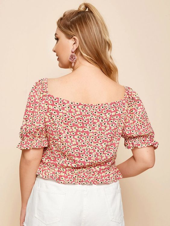 Plus Floral Knot Front Crop Top SHN
