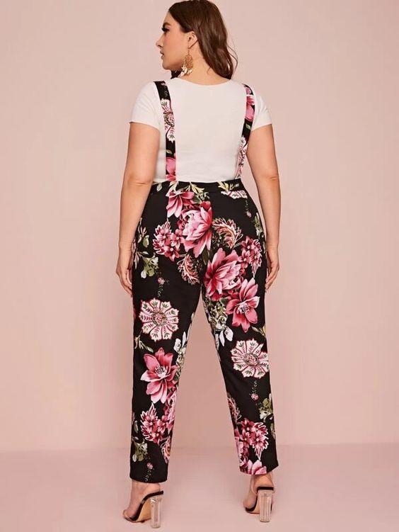 Plus Floral Print Stretch Denim Overalls Revenge Fashion Boutique