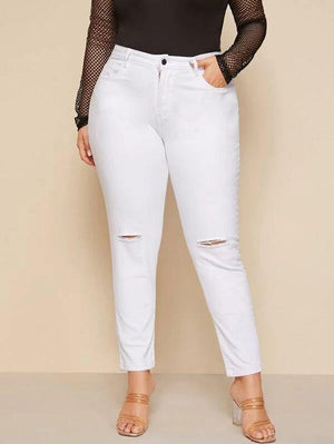 Plus High Rise Distressed Skinny Jeans SHN