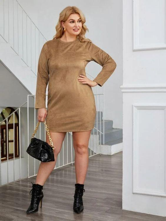 Plus Long Sleeve Fitted Suede Dress SHN -michelle canbuldu
