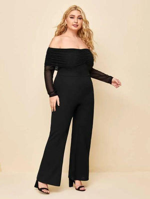 Plus Off Shoulder Ruched Jumpsuit SHN -michelle canbuldu