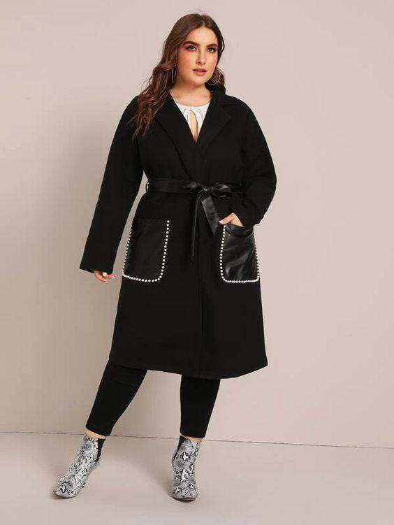 Plus Patch Pocket Detail Overcoat Revenge Fashion Boutique