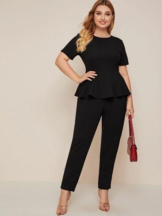 Plus Peplum Stretch Jumpsuit Revenge Fashion Boutique