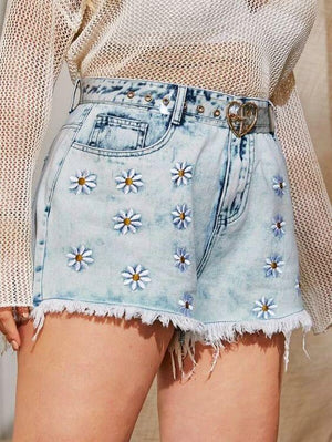 Plus Raw Hem Embroidered Floral Denim Shorts Revenge Fashion Boutique