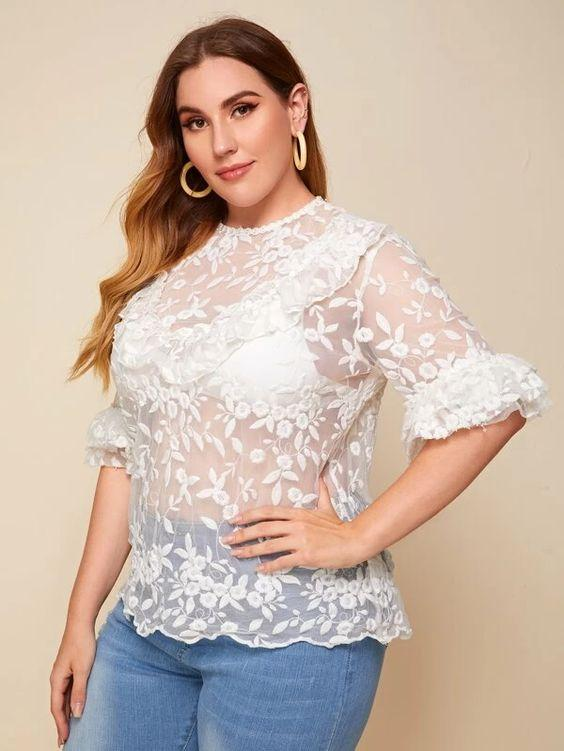 Plus Ruffle Trim Layered Embroidered Top SHN