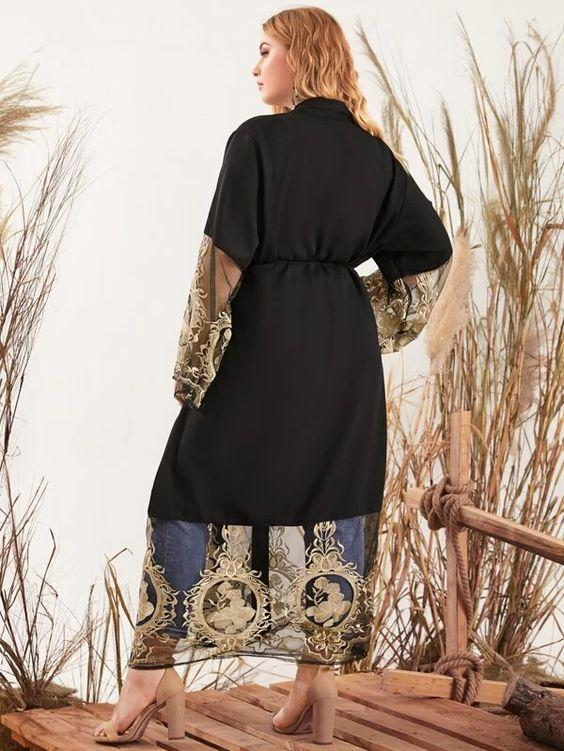 Plus Sheer Floral Embroidery Belted Coat Revenge Fashion Boutique
