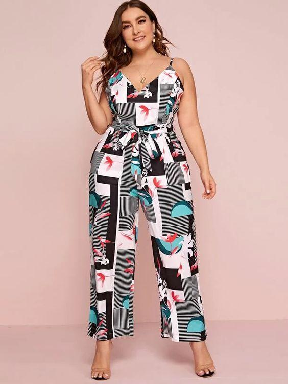Plus Stripe Print Belted Cami Jumpsuit Revenge Fashion Boutique
