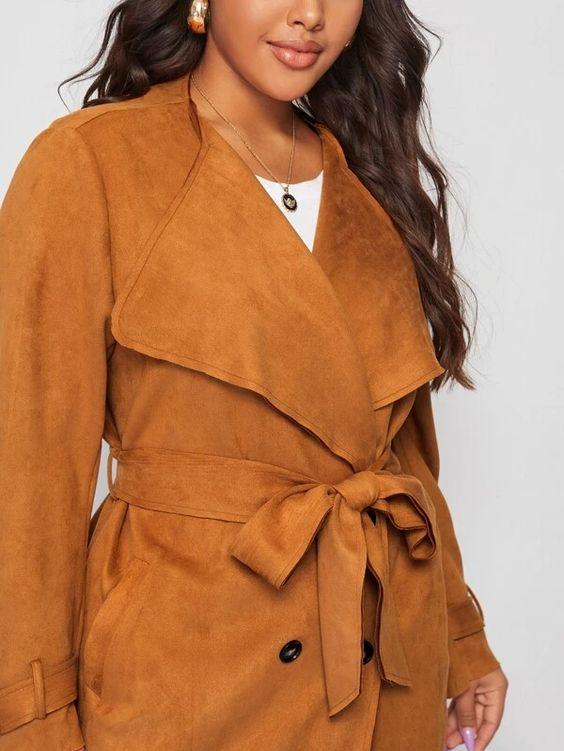 Plus Suede Belted Pea Coat SHN -michelle canbuldu
