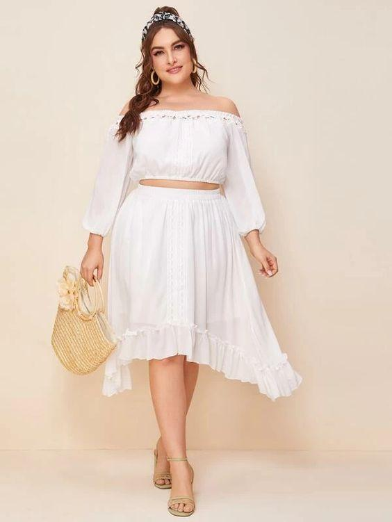 Plus Two Piece Ruffle Hem Skirt SHN