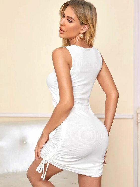 Ribbed Ruched Fitted Lounge Wear Dress Revenge Fashion Boutique